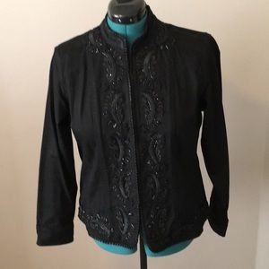 Chico's beaded black denim jacket